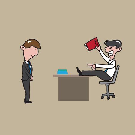 reprimand: Businessman reprimand employee cartoon vector