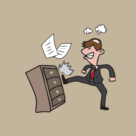 kicked out: Businessman angry kicking file cabinet