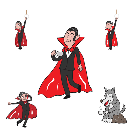 Halloween vampire and werewolf cartoon vector set