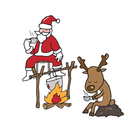 Christmas Santa and reindeer drinking coffee camp fire