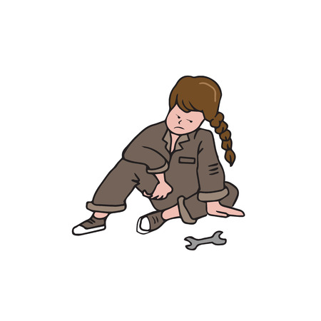 vocational: Mechanic girl cartoon drawing character
