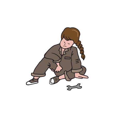 vocational training: Mechanic girl cartoon drawing character