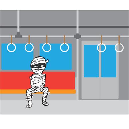 commute: Halloween mummy in subway alone Illustration