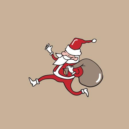 sack: Santa carrying sack cartoon vector