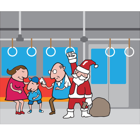 commuting: Christmas Santa in subway cartoon vector