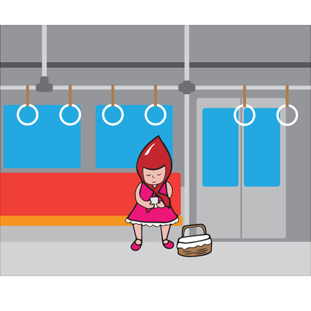 commuting: Girl with red hood sitting in subway alone
