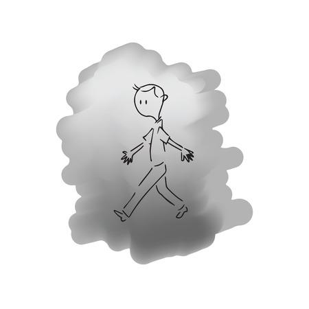 walking away: Man walking drawing cartoon character