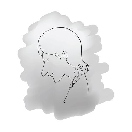 woman sketch: Woman sketch line drawing cartoon Illustration