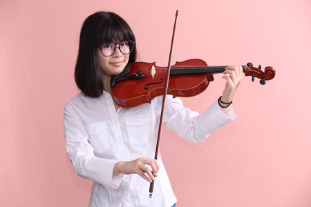 woman violin: Asian teen white shirt with violin glasses