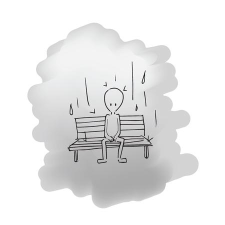raining: Hombre sentado en el dibujo de la historieta de lluvia