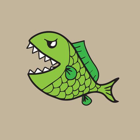 Fish with teeth cartoon drawing Ilustração