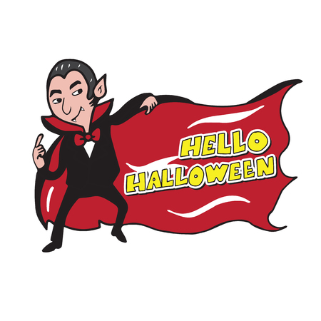 mouth cloth: Vampire banner cartoon drawing vector Illustration