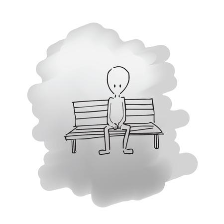 bench alone: Man sitting on bench cartoon drawing