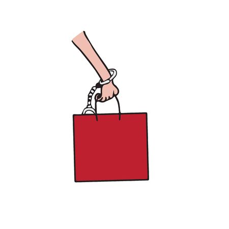 hand cuff: Hand bag and hand cuff cartoon drawing