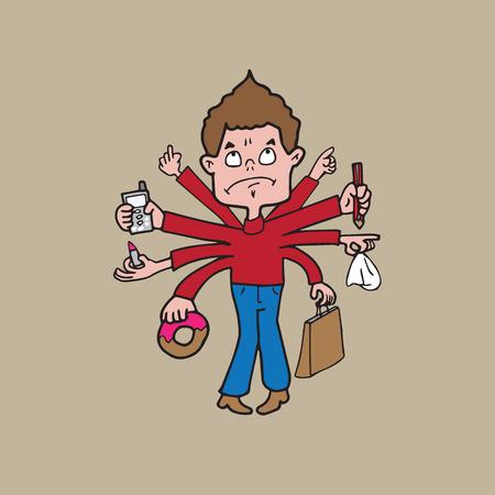 Multitasking man met vele handen cartoon Vector Illustratie