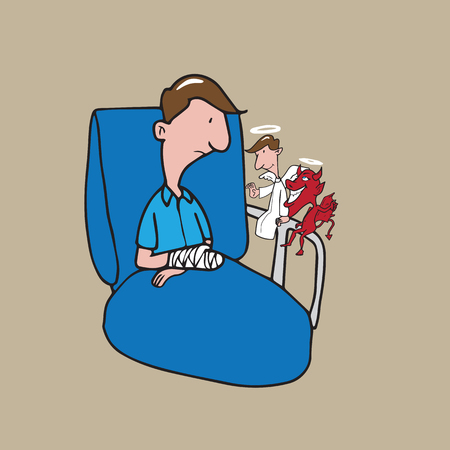 lying in bed: Patient lying in bed with Angel and devil cartoon Illustration