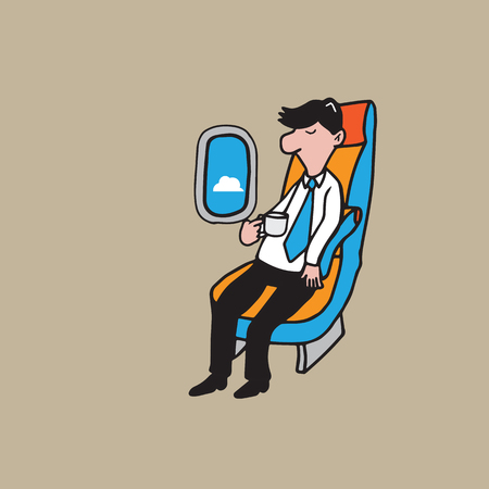 corporate airplane: Airplane cabin passenger young man with coffee Illustration