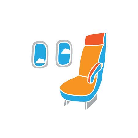 airplane window: Airplane cabin cartoon drawing vector Illustration