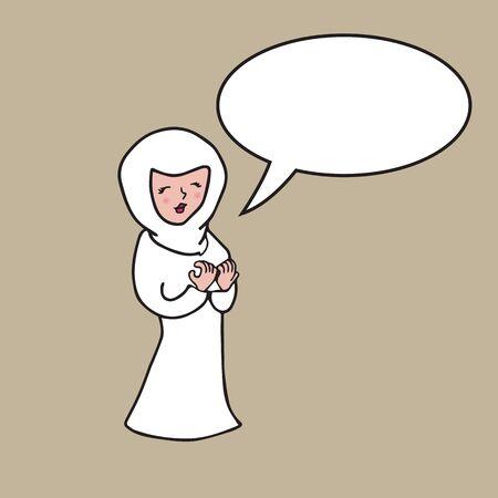 balloon woman: People character Arab woman Hijab speech balloon Illustration