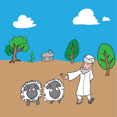 shepperd: Muslim Arabian shepperd cartoon drawing