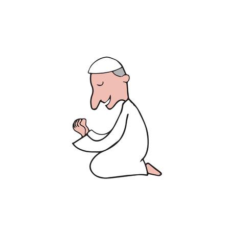masjid: Muslim praying Ramadan cartoon drawing