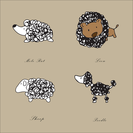 mamal: Line cartoon drawing animals set