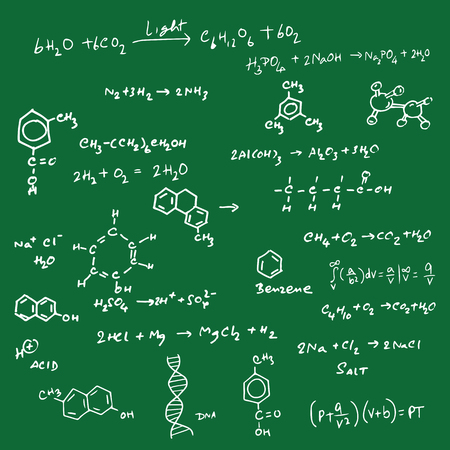 equation: Science equation and structure on blackboard