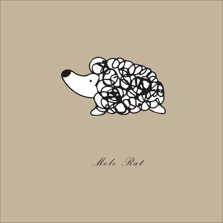 animal mole: Line cartoon drawing animal mole rat