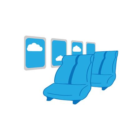 airplane window: Airplane cabin seats cartoon drawing