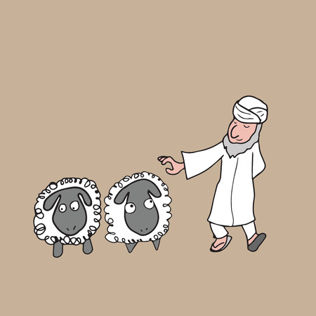 Muslim Arabian shepperd cartoon drawing