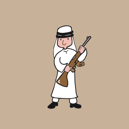 gun man: Muslim Arabian man holding machine gun