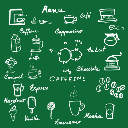 handwriting: Handwriting blackboard coffee menu cartoon Illustration