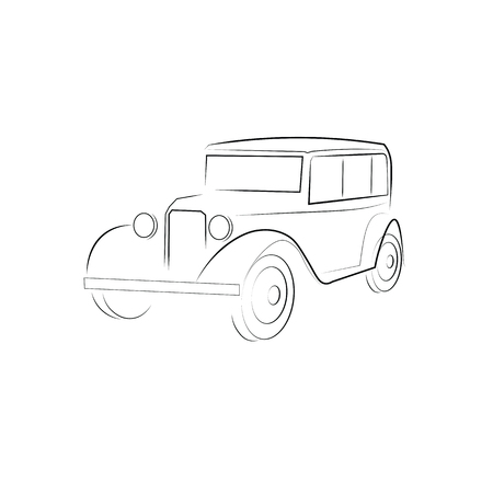 fashioned: Classic car old fashioned vector