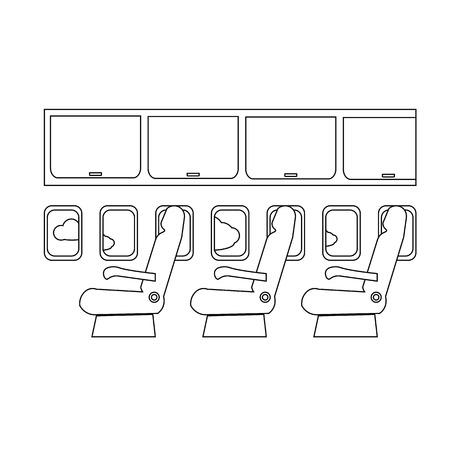 cabin: Airplane cabin seats air transportation line