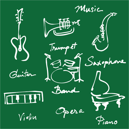 handwriting: Handwriting blackboard music instrument cartoon Illustration