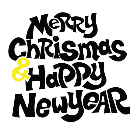 happy new year text: Merry Christmas and Happy New Year text
