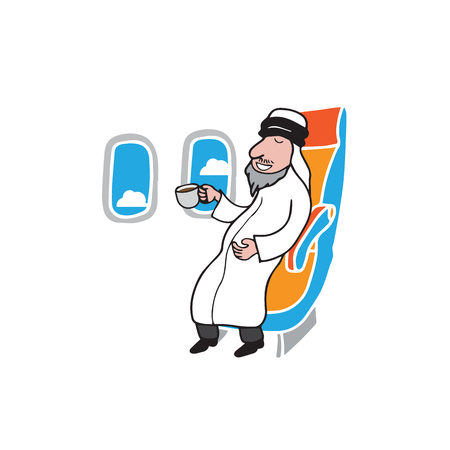 middle air: Airplane cabin passenger Islamic Arab man drinking coffee