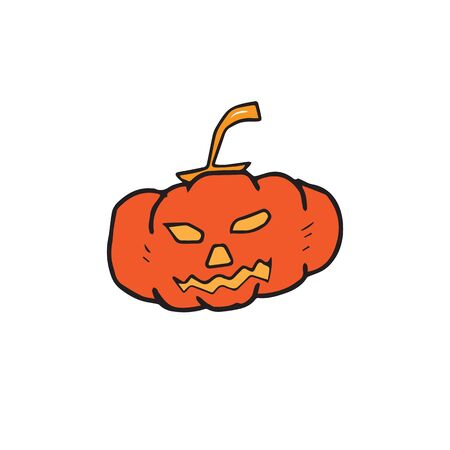 glowing carved: Halloween pumpkin lantern retro design Illustration