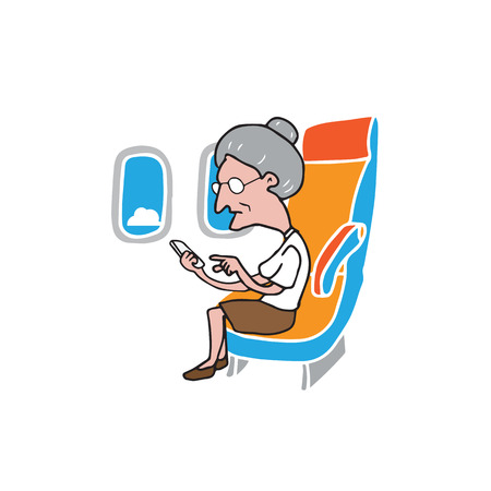 smart phone woman: Airplane cabin passenger elder woman using smart phone Illustration