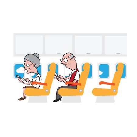 passengers: Airplane cabin passengers elderly people using smart phones