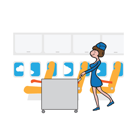business class travel: Air hostess cabin attendant in service Illustration