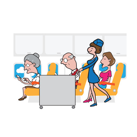 old aged: Air hostess cabin attendant in service old aged passengers