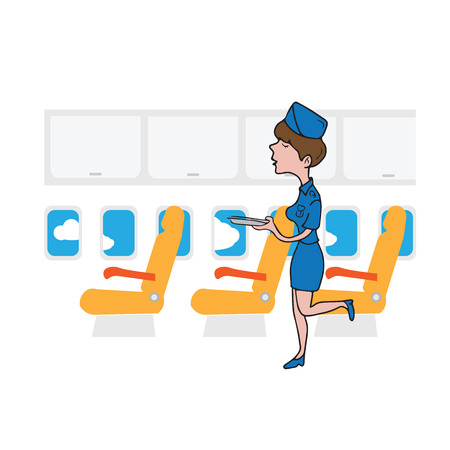 cabin attendant: Air hostess cabin attendant in service Illustration