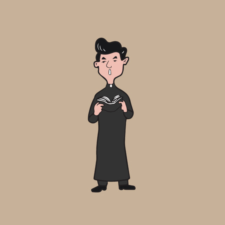 the catholic church: Priest cartoon drawing character