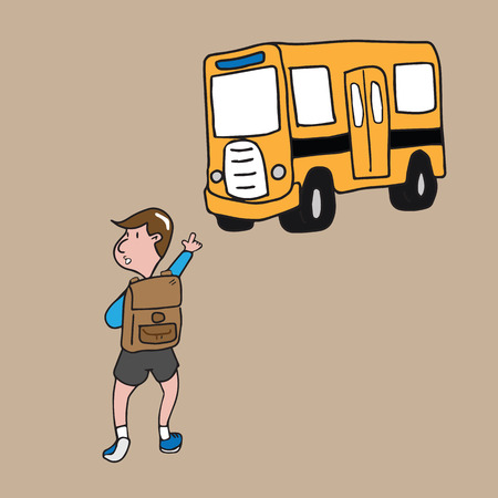 yellow schoolbus: Boy getting to school bus