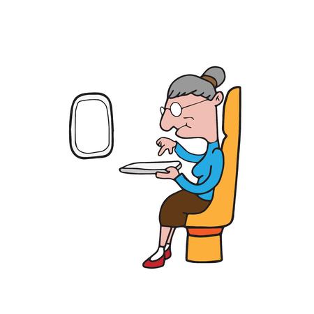 femme dessin: Vieille femme utilisant bande dessin�e de comprim� Illustration