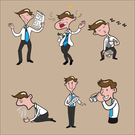 worker cartoon: Businessman character set cartoon drawing Illustration