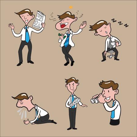 sleepiness: Businessman character set cartoon drawing Illustration