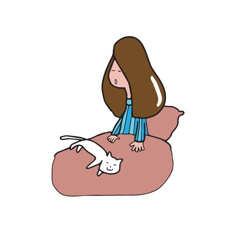 Girl wake up lazily cartoon drawing