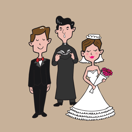 father of the bride: Bride groom and priest isolated cartoon drawing